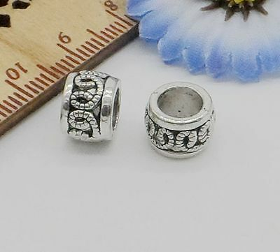 Free Ship 50Pcs Tibetan Silver Big Hole Spacer Beads For Jewelry Making 6.5x9mm