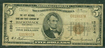 $5 National Bank Note First City NB HACKENSACK New Jersey 1929, Fr. #1800-1 Fine