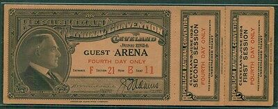 1924 REPUBLICAN NATIONAL CONVENTION TICKET w/2 coupons CLEVELAND OHIO site