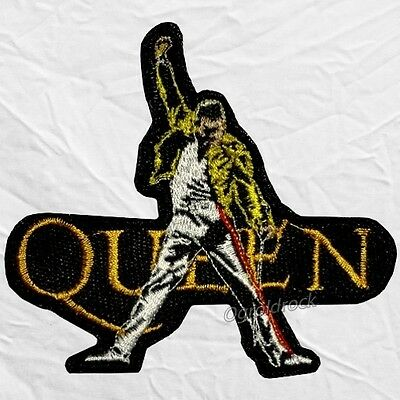 Queen Embroidered Patch Freddie Mercury Raising Hand & Rock Band Logo Brian May