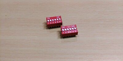 2 PACK - 6 Way PCB DIP Switch - 2.54mm 6P (24V 100mA)