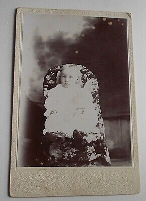 Antique Cabinet Photo-Young Girl / Baby Rosine Sitting in Child Size Chair-Sweet