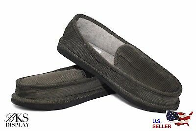 Mens Gray House Shoes Slippers Moccasin Slip-on Corduroy Comfort