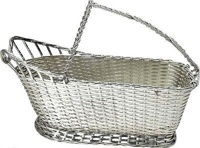 Christofle TRESSE Silver-plate Woven Wine Basket Caddy