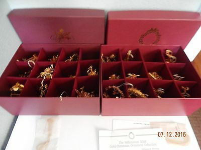 Set Lot of 24 Danbury Mint Gold Christmas Ornaments with Box
