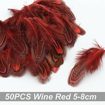 50pcs Wine Red Pheasant Feathers 5-8cm DIY Wedding Craft Millinery  Party Decora