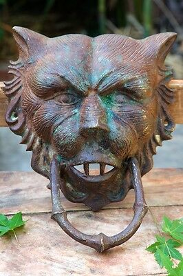 Huge Amazing Vintage Antique Cast Bronze Werewolf Beast Head Demon Door Knocker