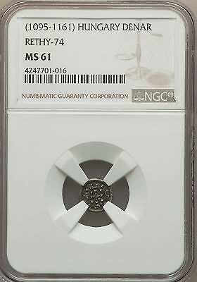 Hungary Medieval Denar ND (1095-1161) Anonymous Type NGC MS61 Rethy-74