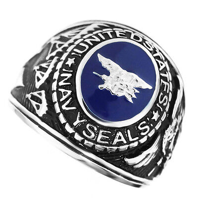 US Navy Seals Military Silver Stainless Steel Ring Mens Ring