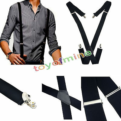 35mm Bretelle uomo tessuto elastico clip Adjustable Men Brace Suspenders Elastic