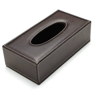 Leather Rectangular Tissue Cover Box Holders Case Pumping Paper Hotel L3