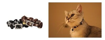 Collier pour chat Pirate Marron Boucle Strass