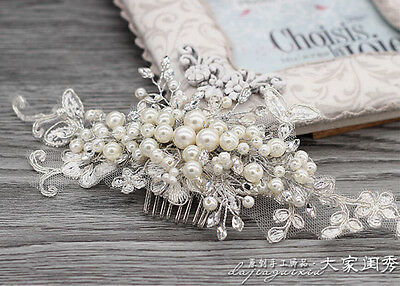 Lace Pearl Crystal  Wedding Bridal Headband Hair Comb Accessories Headdress Hot