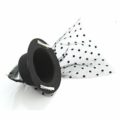 FP Feather Veil Hair Clip Black Mini Top Hat Party Cosplay Goth