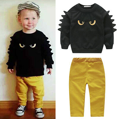 Toddler Kids Baby Boys Autumn Outfit Clothes Monster T-shirt Tops+Pants 2PCS Set