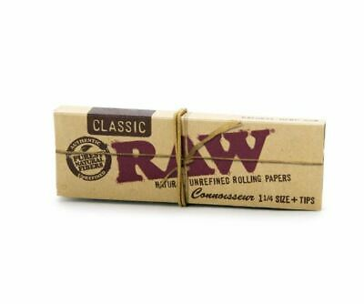 RAW Classic Connoisseur 1 1/4 size and tips Natural Unrefined Rolling Papers