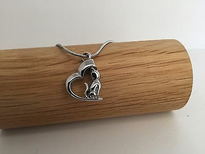 Cat In Heart Silver Urn Necklace Cremation Ashes Ash Keepsake Pendant Pets
