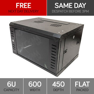 """6U 19"""" Network Cabinet Rack Wall Mounted 600*450mm Black Data Comms Patch Panel"""