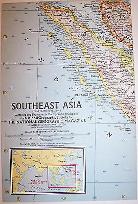 """Vintage 1961 Southeast ASIA National Geographic Map-25"""" w x 19"""" t-GREAT Cond"""