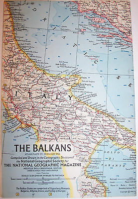 "Vintage 1962 the BALKANS National Geographic Map-25"" w x 19"" t-Great Condition"