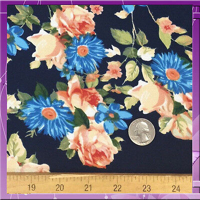 97% Polyester 3% Spandex Fabric 58 Inches Wide Sold Bty Navy Blue / Peach