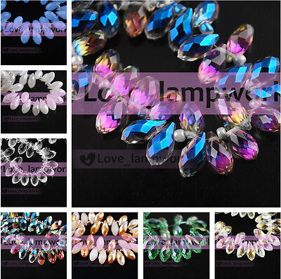 10/50pcs 12x6mm Faceted Teardrop Pendants Crystal Glass Loose Spacer Beads Drops