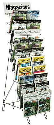 Displays2go Floor-Standing Wire Literature Rack with 20 Tiered Pockets, Removabl