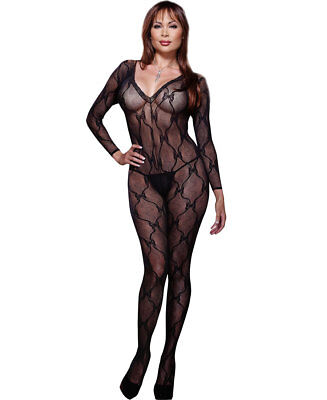 New Dreamgirl 0019X Plus Size Lace Long Sleeve Bodystocking