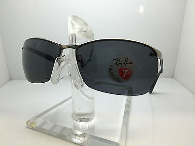 b4534e59065 NEW RAY BAN Semi-Rimless Gray Polarized Sunglasses RB3550 019 81 54 ...
