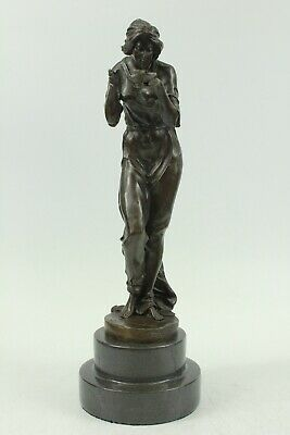 Signed Original Viclor Heinvich Woman Dr Bronze Sculpture Handmade Figure