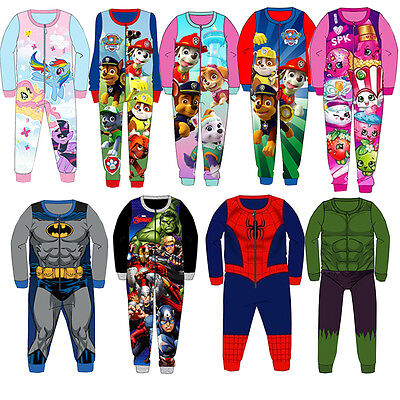 Kids Girls Boys One Piece All In One Micro Fleece Sleepsuit Character Pyjamas