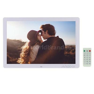 """17"""" HD LED Digital Photo Picture Frame Clock MP3/4 Player + Remote Control White"""