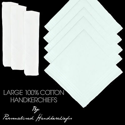 "100% Pure Cotton Handkerchiefs Satin Border White 16"" 40Cm Men Large"