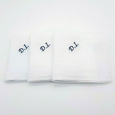 100% Cotton Embroidered Personalised Handkerchief Initials Name Gift Mens Womens