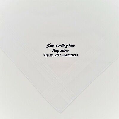 100% Cotton Any Wording Embroidered Personalised Handkerchief Poems Messages