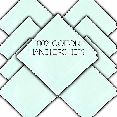 "100% Pure Cotton Handkerchiefs Satin Border White 11"" 29½Cm Ladies Hankie Hanky"