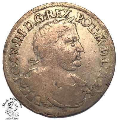 Poland Jan III Sobieski Ort (18 Groszy) 1677 MH - Covered with Leaves - R1
