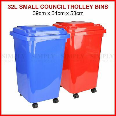32L Mini Wheelie Bins Storage Bin Rubbish Trash Trolley Lid Wheels Dustbin Can