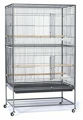 New Wrought Iron Bird Cage Stand Wheels Shelf Storage 3 Perches 4 Feeding Cups