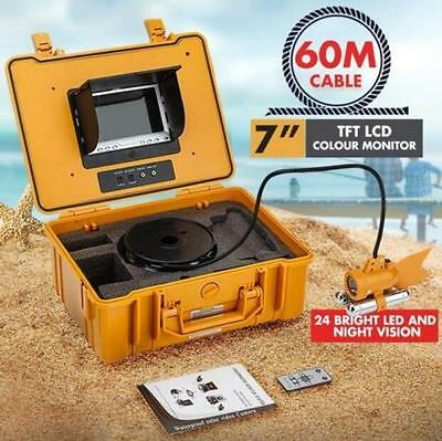 """Wireless 60m Underwater Video Camera Fishing Fish Finder Colour 7"""" LCD Screen"""