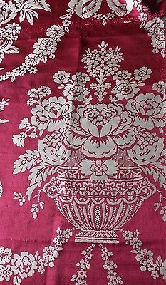 Luscious Floral & Urn Antique 19thC French Lyon Silk Damask Fabric c1860