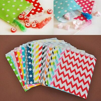 """25Pcs Candy Stripe Ripple &Dot Sweets Cake Wedding Gift Party Paper Bags- 5""""x 7"""""""