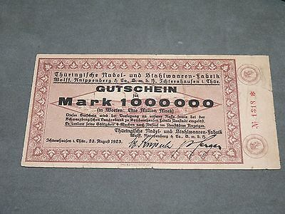 Geldschein: 1 Million Mark 1923 Wolff Knippenberg & Co GmbH Ichtershausen