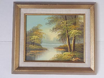 """Antique oil painting painted on canvas 7.5"""" x 9.5"""" signed by artist"""