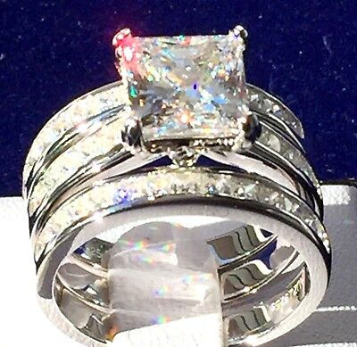 3ct 3pc Bridal Set: 925 Sterling Silver Princess Created Diamond Engagement Ring