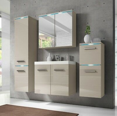 moderne badm bel set badezimmer savona 5tlg mit waschbecken wei hochglanz eur 329 00. Black Bedroom Furniture Sets. Home Design Ideas