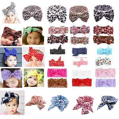 Girls Kids Baby Toddler Turban Knot Rabbit Headband Bow Hairband Head Bands