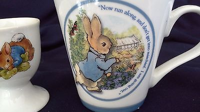 vintage childs LITTLE PETER RABBIT mug and egg cup WARNE breakfast set
