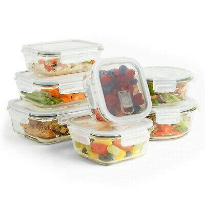 VonShef 7pc Oven Microwave Safe Glass Container Food Storage Set & Air Vent Lids