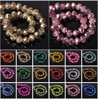 4mm 6mm 8mm 10mm Rondelle Faceted Crystal Glass Loose Spacer Beads Wholesale